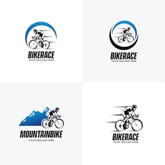 サイクリングのロゴデザインテンプレートのセット