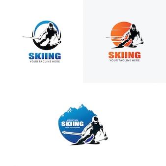 スキーのロゴデザインテンプレートのセット