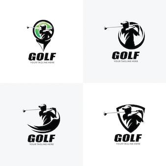 ゴルフのロゴデザインテンプレートのセット