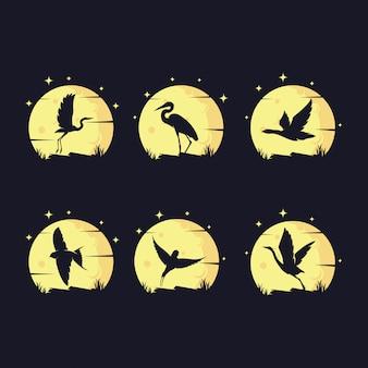 月に対して鳥のシルエットのセット