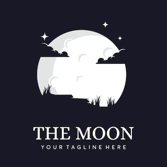 Силуэт луны с облаками логотипом