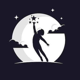 月に対して星のシルエットに達する子供