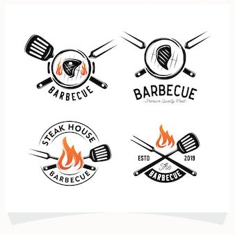 バーベキューステーキグリルハウスロゴのセット