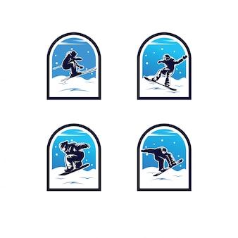冬のスポーツのロゴのセット。スノーボードのロゴ