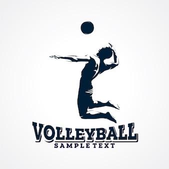 Волейбол векторный логотип, премиум силуэт вектор