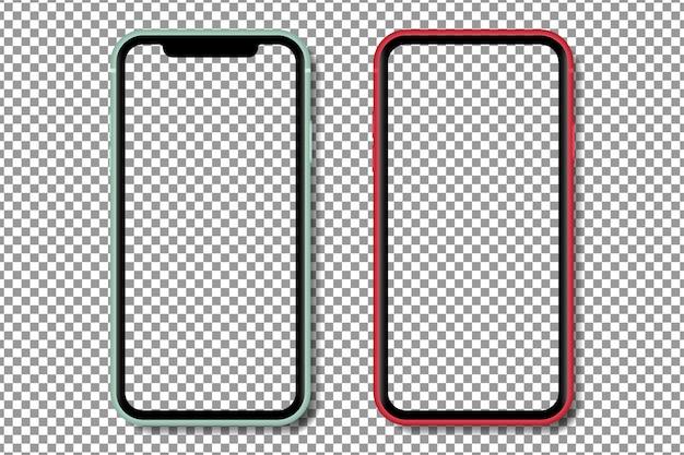 透明なスクリーンを備えたリアルなスマートフォン。透明な背景に分離されたスマートフォンのモックアップ。リアルなイラスト。