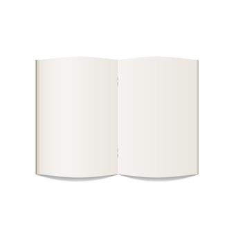 空白のノートブックを開きます。現実的なノートブックモックアップは、白い背景に分離します。テンプレート。図。