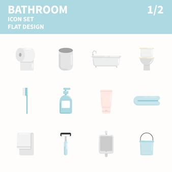 Ванная комната с плоским значок набор