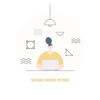 自宅のラップトップコンピューターで働く女性。ホームコンセプトから動作します。女性フリーランサー、在宅勤務のデザイナー。フラットスタイルのイラスト。