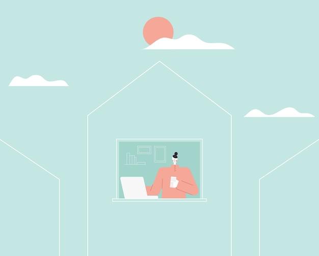 Женщина, работающая на портативном компьютере дома. работа из дома концепции. женщина фрилансер, дизайнер работает на дому. плоский стиль иллюстрации