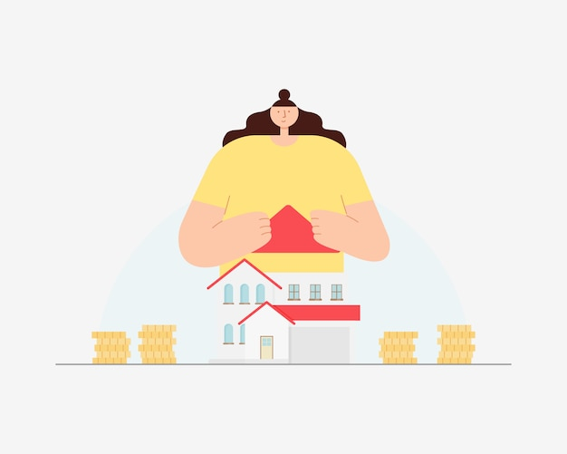 家とコインを持つ若い女性。新しい家のコンセプト。家と不動産のためにお金を節約。図。