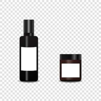 リアルなボトル化粧品セット。透明な背景に。