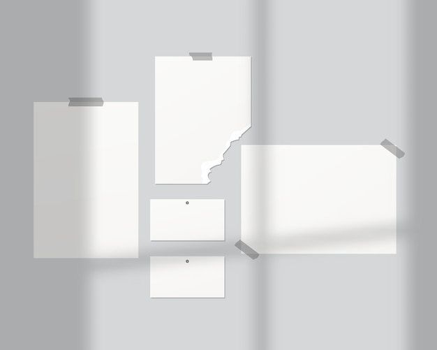 Настроение доски. пустые листы белой бумаги на стене. настроение доски с теневым наложением. , шаблон дизайна. реалистичные векторные иллюстрации.
