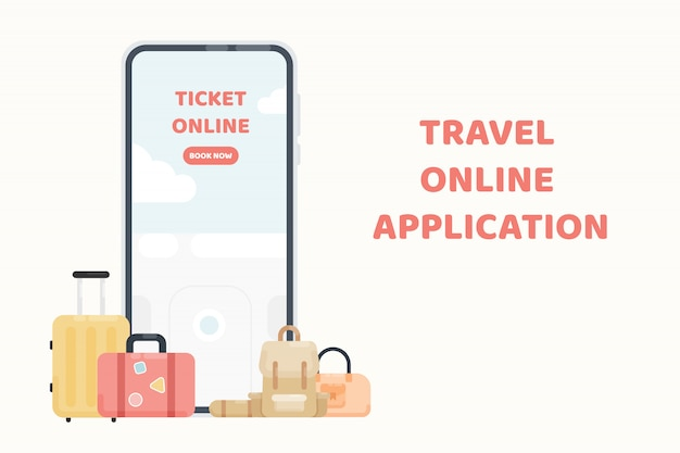 旅行のオンラインアプリケーションまたはウェブサイト。