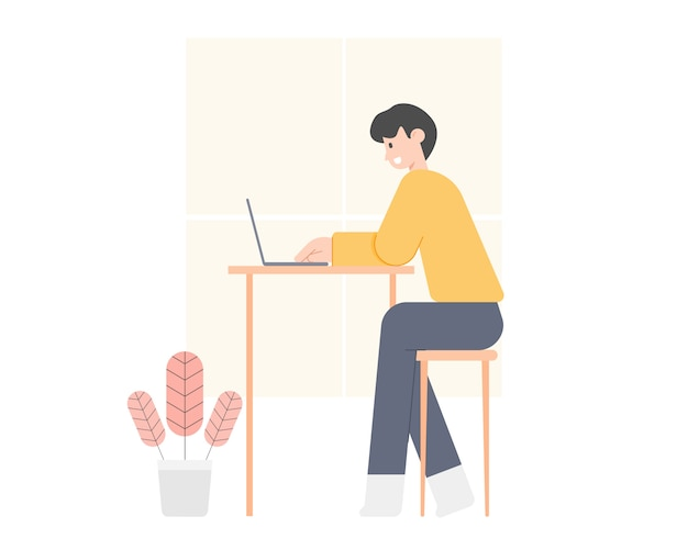自宅でラップトップコンピューターを使用して若い男。ホームコンセプトから作業します。スマートなオンライン作業。ホームオフィスの職場。