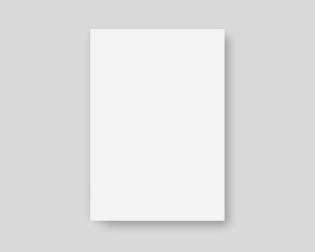 Реалистичная обложка книги. шаблон обложки книги на сером фоне. изолированы. шаблон реалистичная иллюстрация.