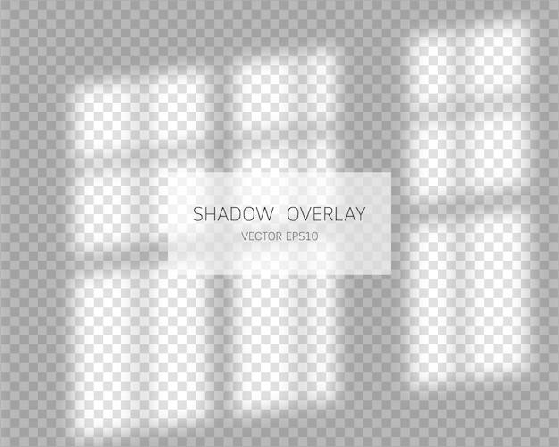 シャドウオーバーレイ効果。透明な背景のウィンドウからの自然な影。図。
