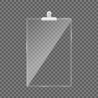 Пустой стеклянный буфер обмена. пластины из акрилового стекла с отблесками и отражениями света в форме прямоугольника. , шаблон реалистичная иллюстрация.