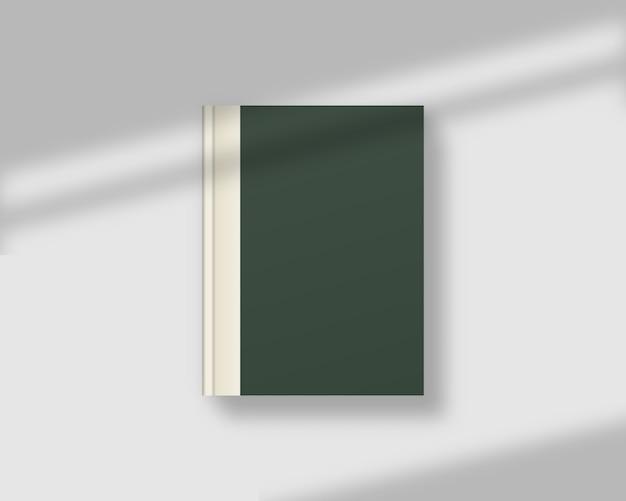 Пустой журнал или обложка книги с тенью наложения. реалистичная закрытая книга. , шаблон реалистичная иллюстрация.