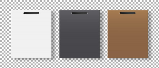 Пустая корзина установлена. бумажная упаковка для покупок. , шаблон реалистичная иллюстрация.
