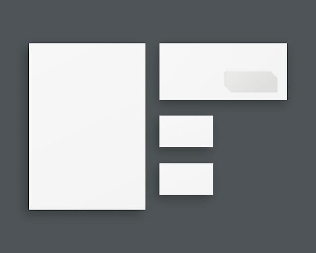 Набор шаблонов фирменного стиля. бизнес канцтовары с бумагой, конверт, визитки. , шаблон реалистичная иллюстрация.