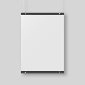 Пустая белая бумага, изолированные на сером фоне. изолированы. шаблон дизайна. реалистичная иллюстрация.