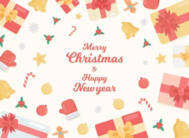 メリークリスマスと新年あけましておめでとうございますのイラスト。ギフトボックス、ベル、キャンディー杖、ジンジャーブレッドマン、安物の宝石、ヒイラギの赤い果実、手袋と休日の背景。
