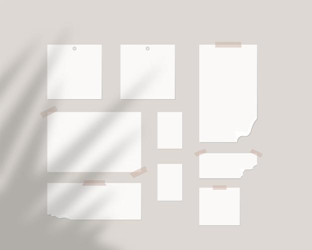 ムードボードテンプレート。シャドウオーバーレイが付いている壁に白い紙の空のシート。分離されました。テンプレートデザイン。リアルなイラスト。