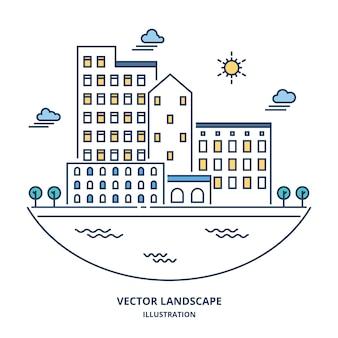都市景観のベクトル。細い線スタイルのイラスト。