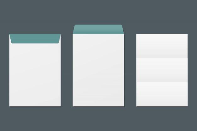 Реалистичные передний и задний конверт и чистый лист бумаги. шаблон макета. шаблон для бизнеса и фирменного стиля.