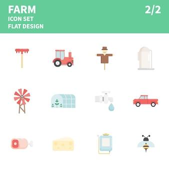 Ферма плоский значок набор. иллюстрации.
