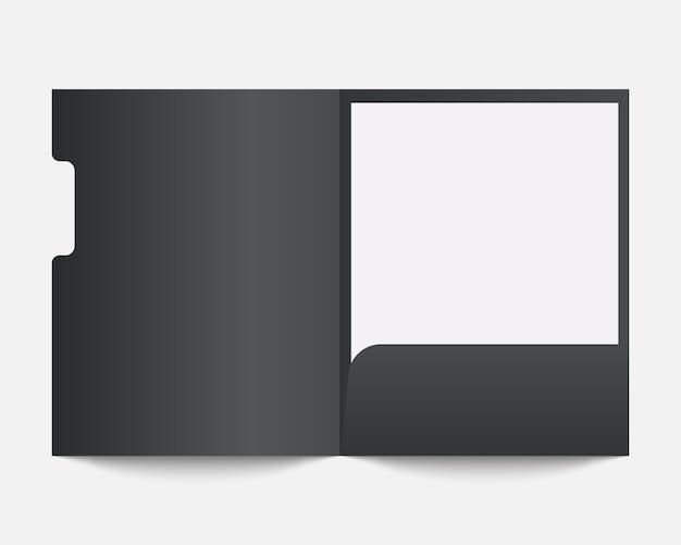 Пустая бумажная папка. шаблон папки. шаблон для бизнеса и фирменного стиля.