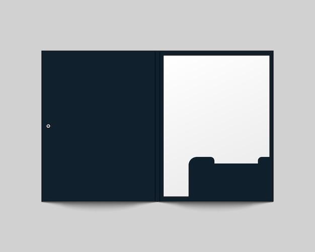 Реалистичная открытая папка и бумага. пустая бумажная папка. фирменный стиль шаблон для бизнеса и фирменного стиля.