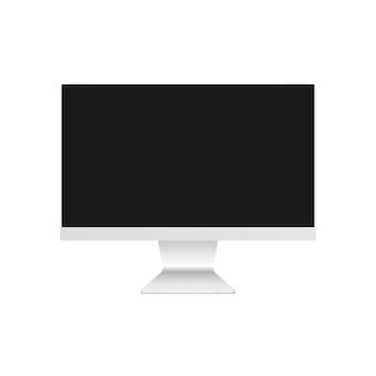 コンピューターモニターのモックアップ。空白の画面を持つデスクトップコンピューター。白い背景で隔離のコンピューターモニター。