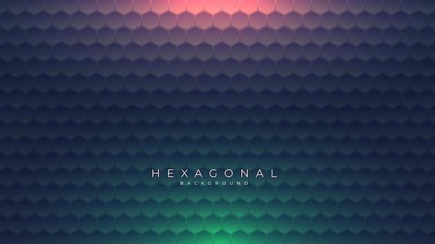 緑と赤の光で暗い六角形の背景