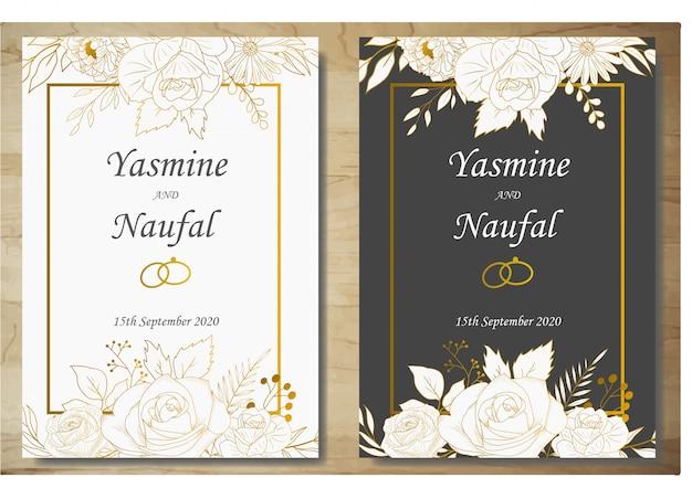エレガントな手描きの花の結婚式の招待状カードのテンプレート