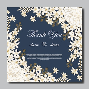 エレガントな手描きの花の結婚式の招待状