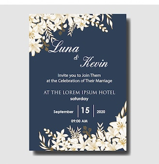 エレガントな手描きの花の結婚式の招待カードテンプレート