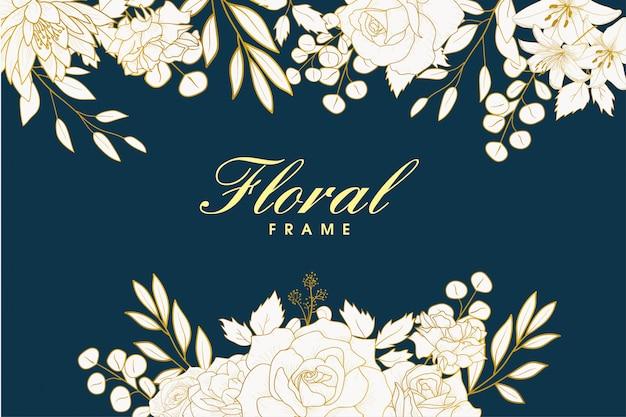 エレガントな手描きの花のフレームデザイン