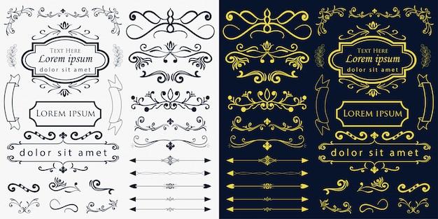 手描きの結婚式の装飾品のベクトル