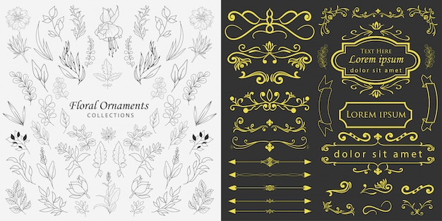 手描きの花飾りベクトル