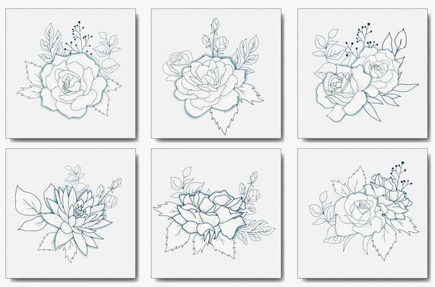 手描きの花の花束ベクトル