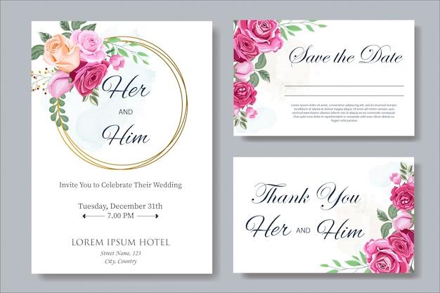 花と葉を持つ結婚式の招待カードテンプレート