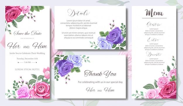 美しい花と葉の結婚式の招待状