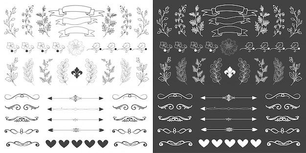 Набор рисованной цветочных элементов