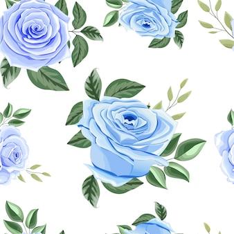 青いバラと美しいシームレスパターン