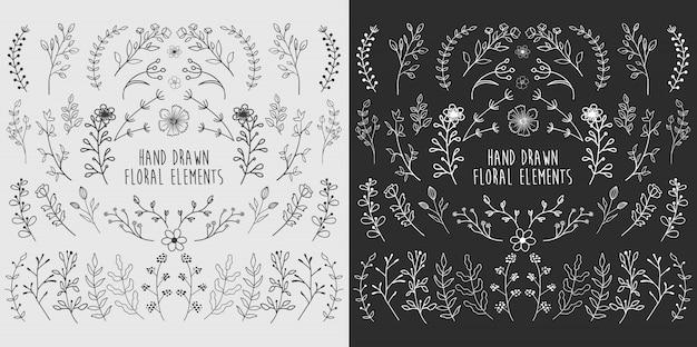 Ручной обращается цветочные элементы