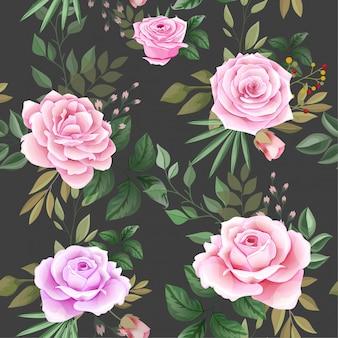 美しい花と葉を持つエレガントなシームレスパターン
