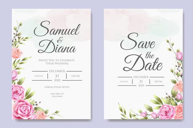 美しい結婚式の招待カードのデザインテンプレート