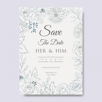 Рисованной цветочные приглашение на свадьбу